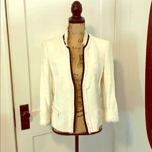 White House Black Market white textured blazer.